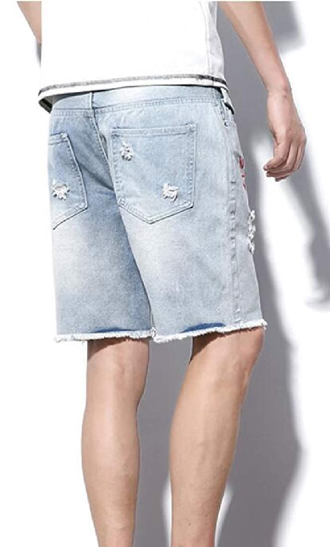 GRMO Men Embroidery Casual Ripped Holes Regular Fit Cut Off Denim Shorts Jeans