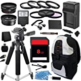 Outdoor Travel Ultimate Accessory Package includes High Capacity BLN-1 BLN1 Replacement Battery with Car/International Charger + 8GB Memory Card + Deluxe DSLR Digital Camera Backpack + 58mm 0.43x High Definition AF Wide Angle Lens + 2.2x AF Telephoto Lens