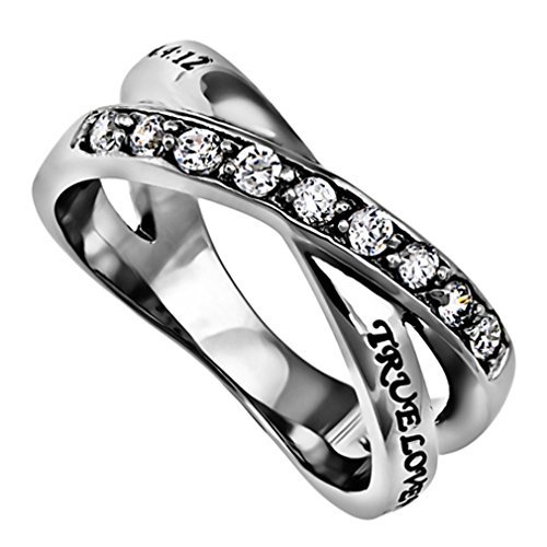 True Love Waits Purity Ring, Christian Bible Verse, Church Chastity Ceremony, Weave Band with...