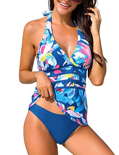 ACKKIA Women's Blue Halter Two Pieces Swimsuit V Neck Panel Open Back Tankini Set Bathing Suit Printed Swiwwear L(US 12-14)