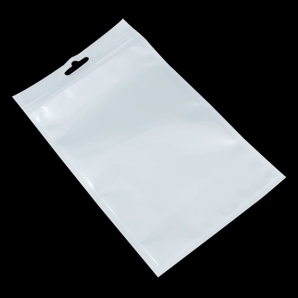 9x12-2 mil  Clear Plastic Reclosable Single Zip Poly Bag Hang Hole 100 Pack