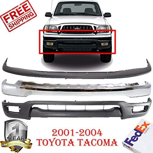 Front Bumper Kit for 2001-2004 Toyota Tacoma S Runner Base Bumper Chrome Lower Valance Panel Primed W/Pre Runner Model Bumper Filler Black Paint to Match To1095196 To1087112 To1002174