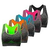 TOBWIZU Racerback Sports Padded Seamless for Women Pocket Yoga Workout Gym Bras