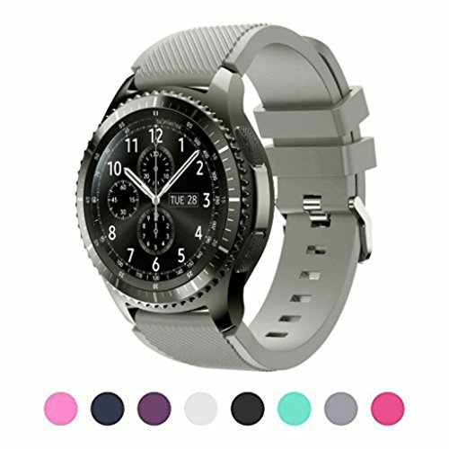 Sunface Sunface Grey Bands for Gear S3 Frontier/Classic Watch Silicone Bracelet, Sports Silicone Band Strap Replacement Wristband for Samsung Gear S3 Frontier/S3 Classic