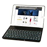 iPad Air 2 Keyboard Case, iEGrow F8S+ Slim Bluetooth Clamshell Keyboard Case with 7 Colors LED Backlit for iPad 6 (Black)