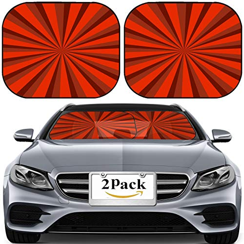 (MSD Car Sun Shade for Windshield Universal Fit 2 Pack Sunshade, Block Sun Glare, UV and Heat, Protect Car Interior, Image ID 31826989 Colorful Vintage Wallpaper for Background red Stripes and l)