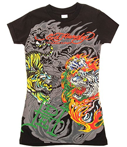 Ed Hardy Kids Girls Flaming Tiger Short Sleeve T-Shirt - Black - ()