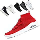 Ceyue Mens Knit Breathable Walking Sneaker Shoes Black Lightweight Running Sports Shoes(Red 43)