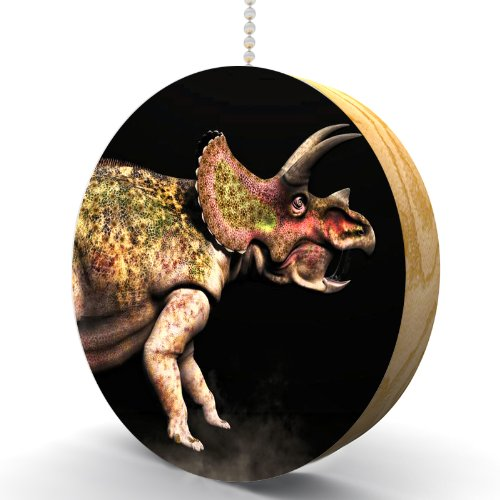 Triceratops Dinosaur Rage Hardwood Oak Fan / Light Pull (Triceratops Wood)