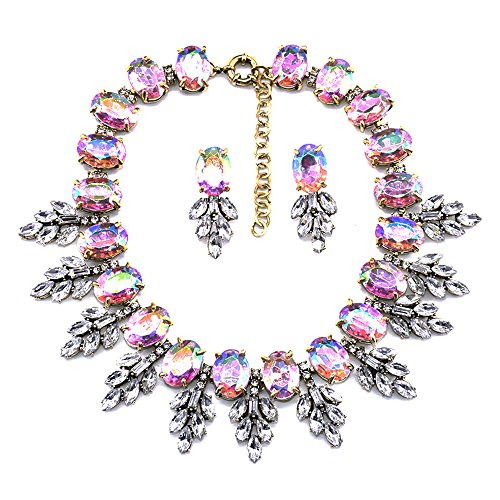 (Zthread Luxury Colorful Crystal Statement Necklace Leaf Pendant Choker Eveing Dress Bridal Jewelry Necklace Earrings Set for Women (Pink))