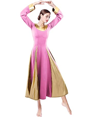 938a36346db OwlFay Women Metallic Praise Dance Dress Long Sleeve Full Length Loose Fit  Swing Gown Liturgical Tunic