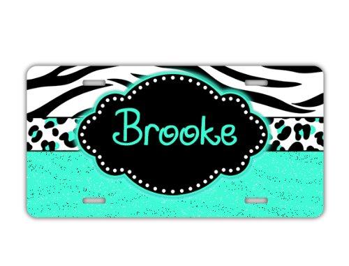 Gift for teen - monogram license plate - Cheetah and zebra print in light aqua blue - monogrammed car tag vanity (Cheetah Print License Plate)