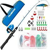PLUSINNO Kids Fishing Pole with Travel Bag, Telescopic Fishing Rod and Reel Combos with Spincast Fishing Reel Full Kits for Kids,Boys,Youth Fishing (Black Handle with Spincast Reel, 150CM 59IN)