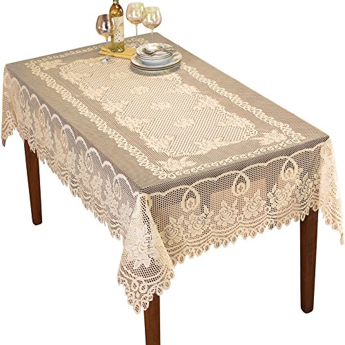 Collections Etc Crochet Lace Floral Tablecloth for Dining Room Accent or Layering Linens, Cream, 60