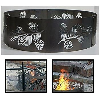 PD metales acero hoguera anillo de Fuego pino Bough diseño ...