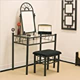 Coaster Vanity Set includes, Vanity Table, Mirror and Bench, Sunburst Design, Black Finish Metal