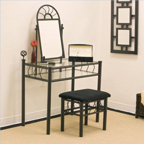 Metal Finish Sunburst Design Bedroom - Coaster Vanity Set includes, Vanity Table, Mirror and Bench, Sunburst Design, Black Finish Metal
