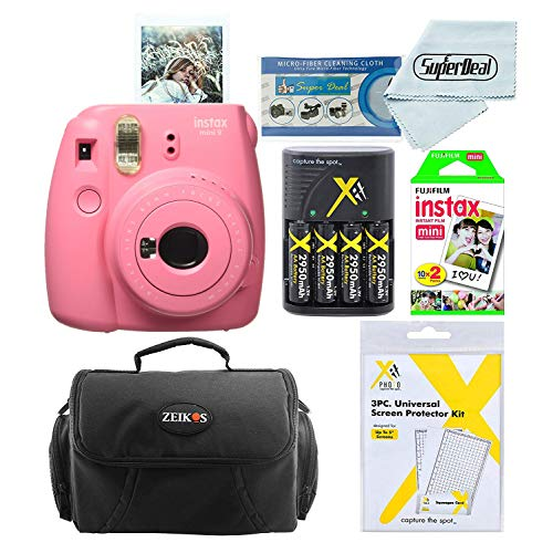 Fujifilm Instax Mini 9 Instant Film Camera (Flaming Pink) with Instax Mini Instant Film Twin Pack (20 Sheets), Compact Bag Case, Battery Charger and Batteries, and Screen Protectors