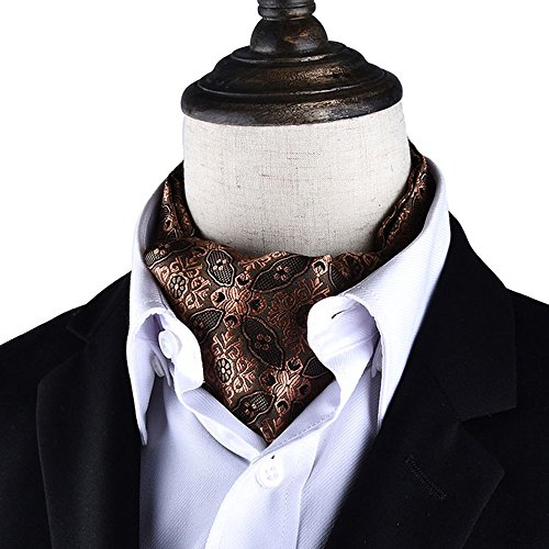 (AngelShop Men's Cravat Self Tie Paisley Jacquard Weave Formal Tie Scarf Luxurious Ascot (Coffee))