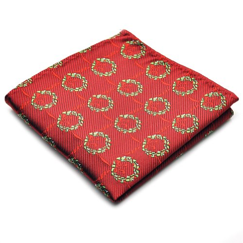 PenSee 100% Silk Woven Red & Green Stripe Pocket Square