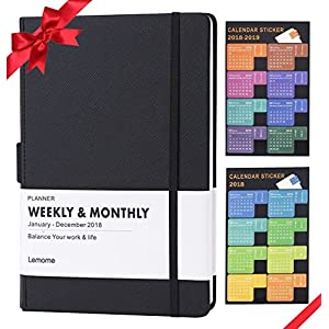 "Planner 2018 with Pen Loop -Academic Weekly, Monthly and Yearly Planner. Thick Paper to Achieve Your Goals & Improve Productivity, 5.75"" x 8.25"", Inner Pocket with 58 Bonus Notes Pages - lemome"