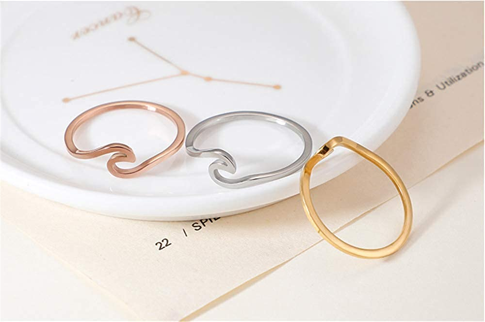 PAMTIER Womens Stainless Steel Minimalist Wave Ring