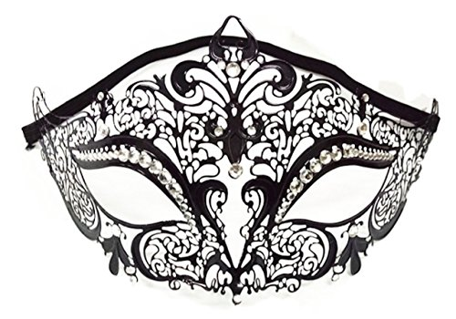 P-LINK Venetian Mask Costume Cosplay Party Masquerade Mask Shiny Metal Rhinestone Rhinestone Masquerade Mask Gold for Women Silver Lace Black Blue Masks Ball Venetian White Red - Ball Red Shiny