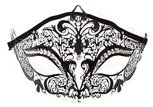 P-LINK Venetian Mask Costume Cosplay Party Masquerade Mask Shiny Metal Rhinestone Rhinestone Masquerade mask Gold for Women Silver Lace Black Blue Masks Ball Venetian White red (Black) (Mask Maroon)