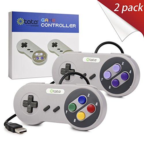 2xClassic USB Gamepad for SNES Games, kiwitatá SNES USB PC Wired Super Controller Game Pads Joypad for Windows PC/Mac Raspberry Pi 3 Genesis