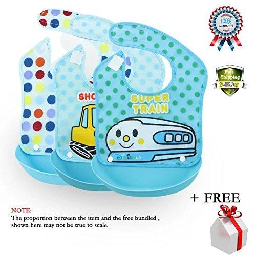 COFFLED Baby BPA Free Silicone Bucket Bib Food Catcher Easil