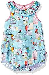 Zutano Baby Girls\' Ruffle Bubble, Paradise Bird, 3M (0-3 Months)