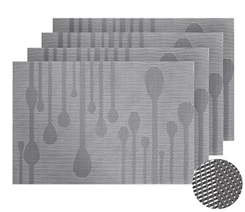 Deconovo Solid Rain Drop Pattern Design Durable Woven PVC Placemats Heat-resistant Table Mats Anti-skid Table Setting Placemats for Dining Table 12 W x 18 L Inch Grey Set of 4