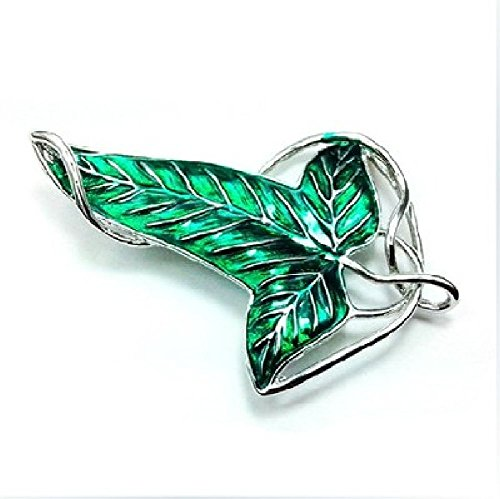 Hittime Lord of The Rings Green Leaf Elven Pin Brooch Pendant With Chain Necklace]()