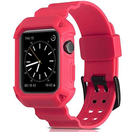 Camyse Compatible Apple Watch Band 42mm Case, Shockproof Rugged Protective Cover with Bands Stainless Steel Clasp for iWatch Apple Watch Series 3, 2, 1 Sport Edition for Men Women Grils Boys - Pink