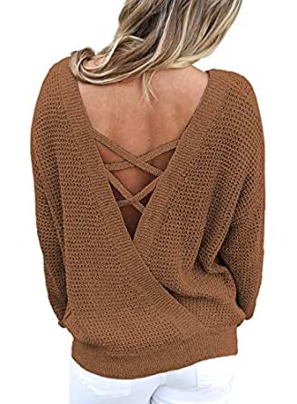 CILKOO Women'sCrissCrossV-NeckOpenBackOvesizedFallSolidPulloverSweatersTops Brown US8-10 Medium