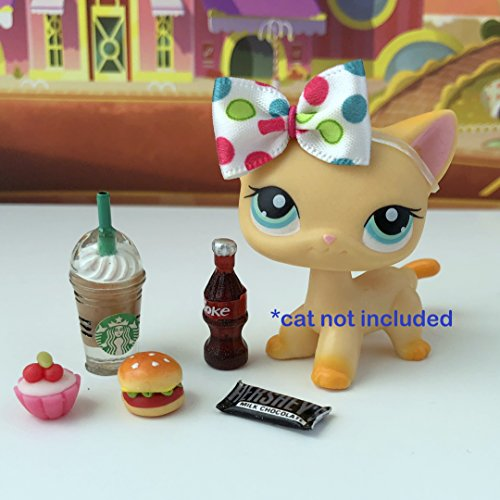 Unbranded LPS Littlest Pet Shop - 6 PC Lot Accessories Clothes Food Starbucks Bow Hershey Bar Cupcake -