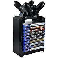 EDTara Game Disk Tower Vertical Stand for PS4 Dual Controller Charging Dock Station for Playstation 4 Pro Slim