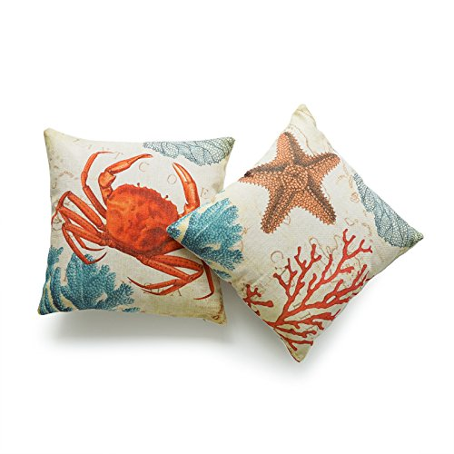 (Hofdeco Decorative Throw Pillow Cover HEAVY WEIGHT Cotton Linen Vintage Caribbean Sea Life Starfish Crab Coral 18
