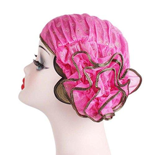 Pile Hoop - Women's Hats, Iuhan Women Retro Big Flowers Hat Turban Brim Hat Cap Pile Cap (Hot Pink)