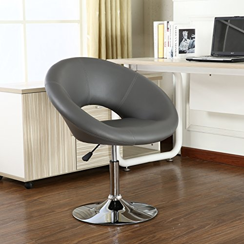 roundhill furniture adjustable swivel accent chair grey