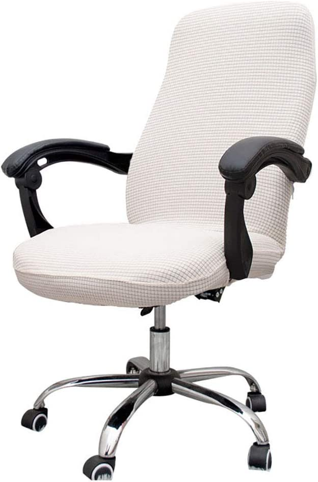 Melanovo Computer Office Chair Covers, Universal Stretch Desk Chair Cover for Rotating High Back Chair (White)
