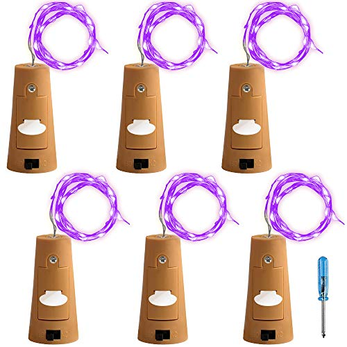 AFUNTA 6 Pcs Cork Lights with Screwdriver, Bottle Lights Fairy String LED Lights, 78 Inches/2 m Copper Wire 20 LED Bulbs for Party Wedding Concert Festival Christmas Tree Decoration-purple