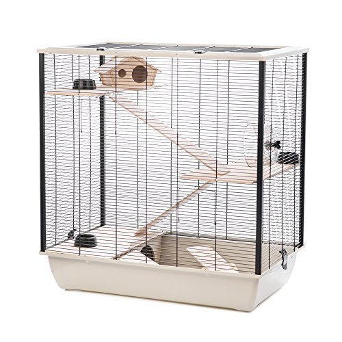 Little Friends Plaza Tall Rat and Hamster Cage with Three Floors, 78 x 48 x 80 cm, Silver/Black