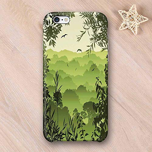 Forest Non Fading Compatible with iPhone Case,Forest Scenery with Tea Trees and Gulls in The Jungle Birds Branches Eco Graphic Work Compatible with iPhone 6 Plus / 6s Plus,iPhone 6/6s
