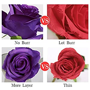 Luyue Artificial Silk Rose Flower Bouquet Wedding Party Home Decor, Pack of 10 (Style 1-Purple) 5