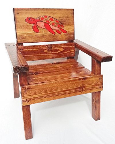 Kids Wooden Nautical Chair, Engraved and Painted Red Sea Turtle, Indoor / Outdoor Furniture
