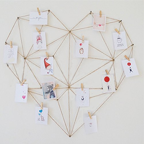 Laugh Cat DIY Picture Frames Heart Shape Collage Set Hemp Rope No Trace Nails Wood Clip Hand Tools for Hanging Photos,Wall decoration