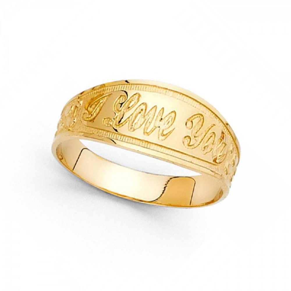 Solid 14k Yellow Gold I Love You Ring Tapered Band Polished Finish Diamond Cut Genuine 8MM Size 8