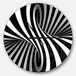 Designart Black and White Spiral' Oversized Modern Metal Clock, Circle Wall Decoration Art, 23x23 Inches