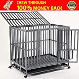 KELIXU Heavy Duty Dog Crate Large Dog cage Dog Kennels and Crates for Large Dogs Indoor Outdoor with Double Doors, Locks and Lockable Wheels(38in 42in 46in)